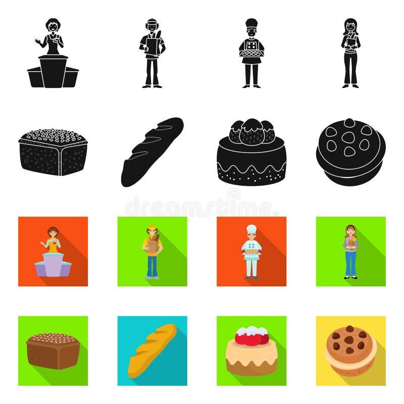 Objet isolé de la boulangerie et logo naturel. Ensemble de boulangeries et d'icônes vectorielles pour les stocks illustration de vecteur