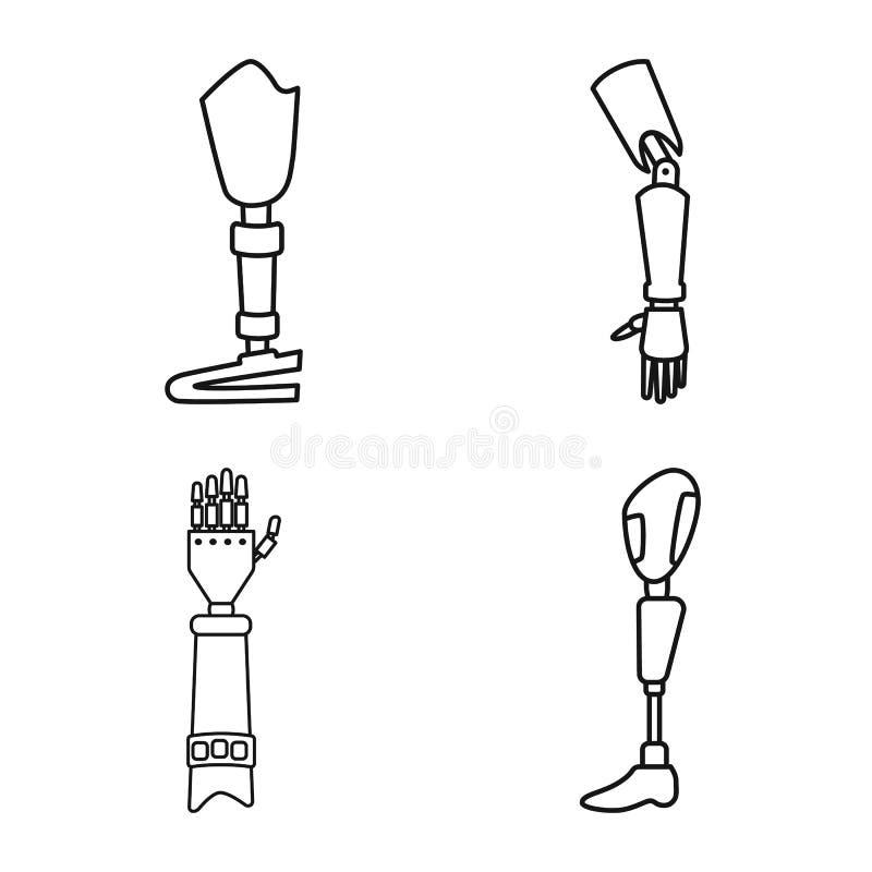 Objet isolé de prothèse et de symbole artificiel Collection d'icônes prothétiques et de vecteurs mécaniques pour le stock illustration libre de droits