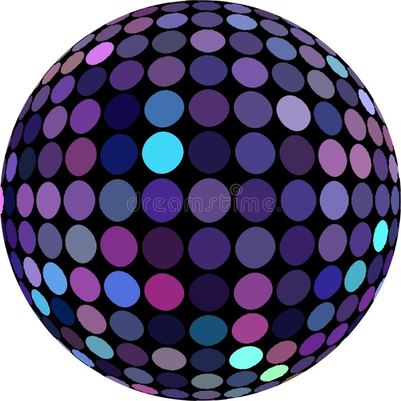 objet pourpre de mosaïque de la sphère 3d Bille de disco d'isolement illustration libre de droits