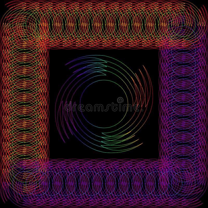 Objet rond abstrait dans un cadre fait de fil illustration de vecteur