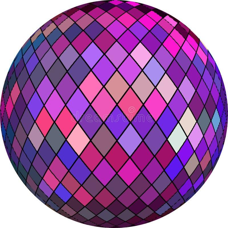 objet texturisé en cristal de la boule 3d Illustration lilas rose pourpre d'abrégé sur sphère de mosaïque sur le fond blanc d'iso illustration libre de droits