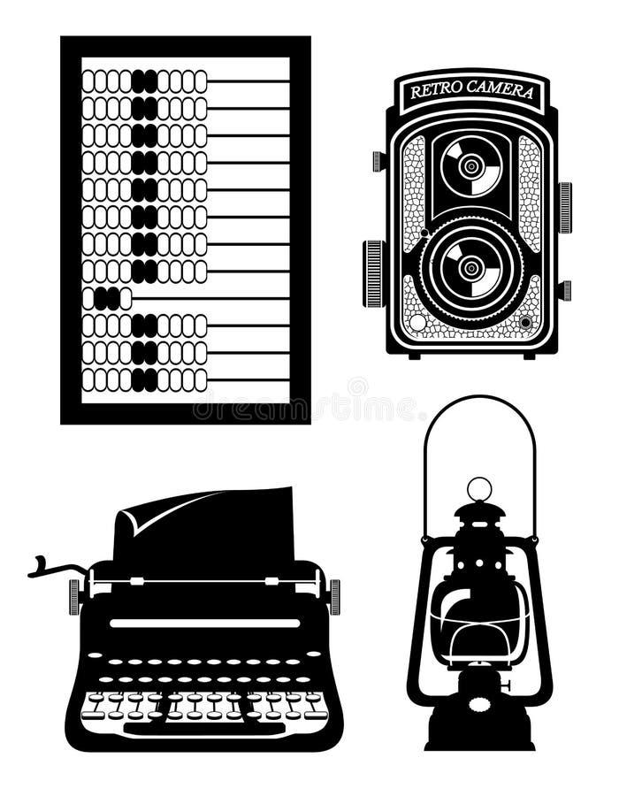 Objeta a ilustração retro velha do vetor do estoque do ícone do vintage ilustração royalty free