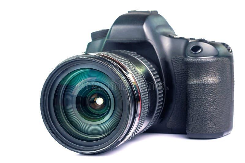 Objetiva com da câmera moderna da foto do zumbido das reflexões da lente opinião dianteira ultra foto de stock