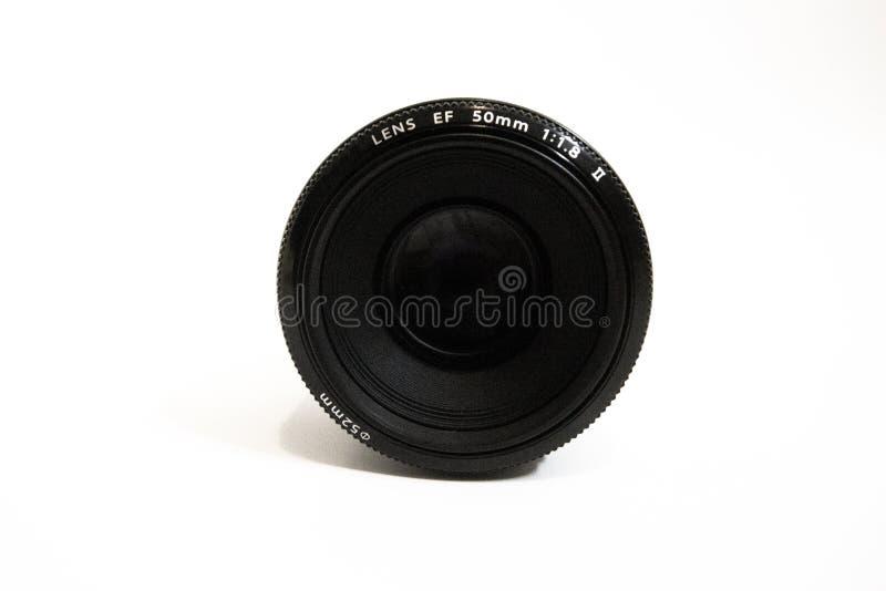 Objetiva da lente da foto da câmera, a velha e usada, objetiva isolada fotografia de stock royalty free