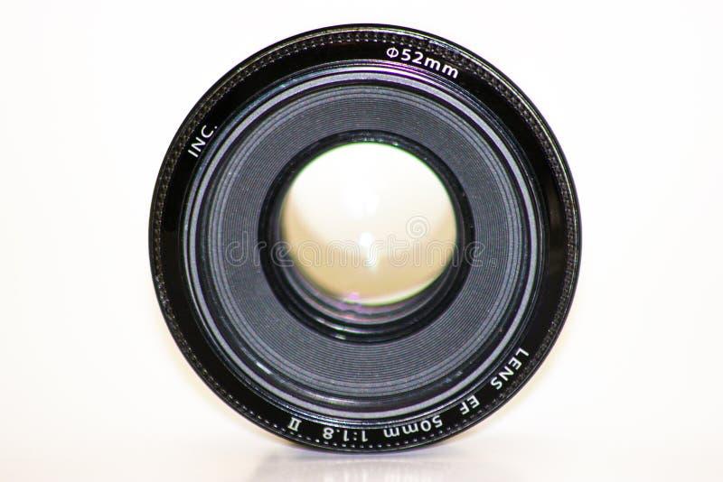 Objetiva da lente da foto da c?mera, a velha e usada, objetiva isolada imagem de stock royalty free