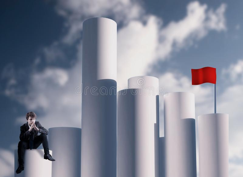 Objetivo da bandeira vermelha imagens de stock royalty free