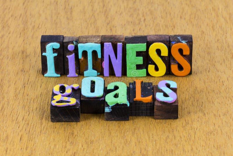Objetivo de fitness deporte estilo de vida saludable letterpress entrenamiento foto de archivo libre de regalías