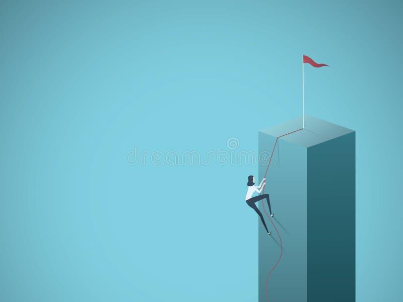 Objetivo de negócios, objetivo, conceito do vetor do alvo com a mulher de negócios que escala um penhasco em uma corda Símbolo da ilustração stock