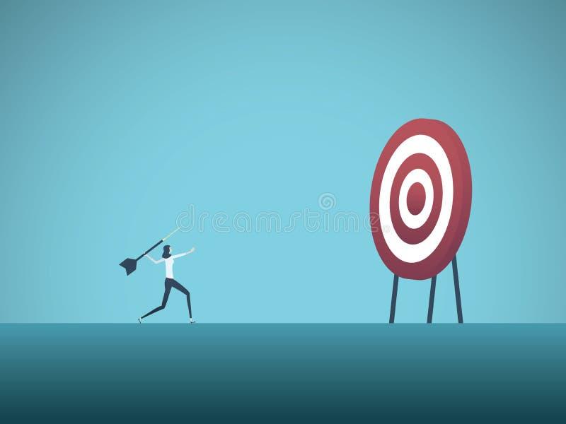 Objetivo de negocio y concepto del vector de la estrategia Dardo que lanza de la empresaria en la blanco Símbolo de las metas de  stock de ilustración