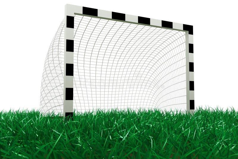 Objetivo do futebol na grama ilustração do vetor