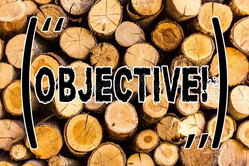 Objetivo do texto da escrita Objetivo do significado do conceito de planeamento ser vintage de madeira desejado conseguido do fun ilustração do vetor