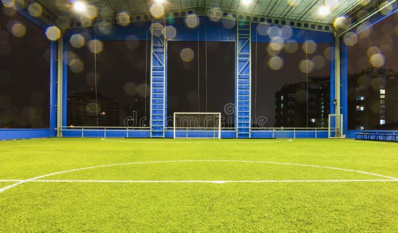 Objetivo e campo do futebol (futebol) foto de stock