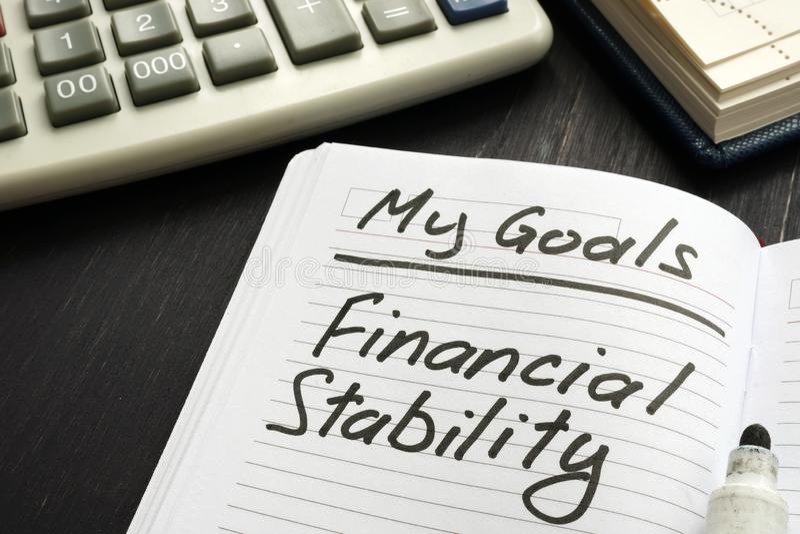 Objetivo pessoal - Inscrição de estabilidade financeira fotografia de stock royalty free