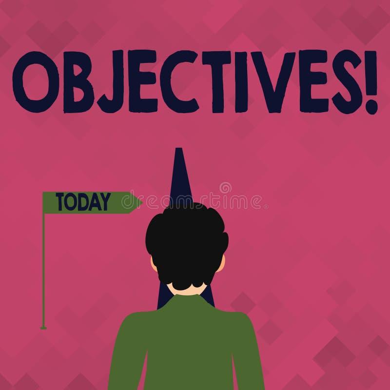 Objetivos do texto da escrita da palavra Conceito do negócio para os objetivos de planeamento ser homem desejado conseguido das m ilustração do vetor