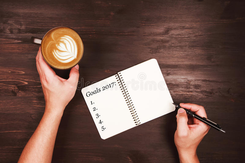 Objetivos e definições da escrita fotografia de stock