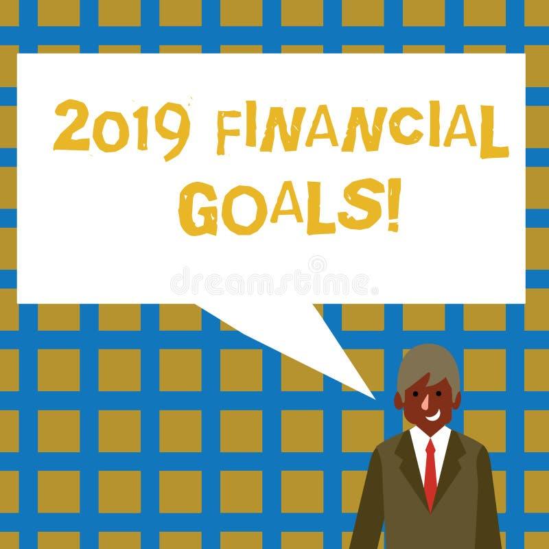 Objetivos financeiros do texto 2019 da escrita Estratégia empresarial nova do significado do conceito para ganhar a mais lucros m ilustração stock