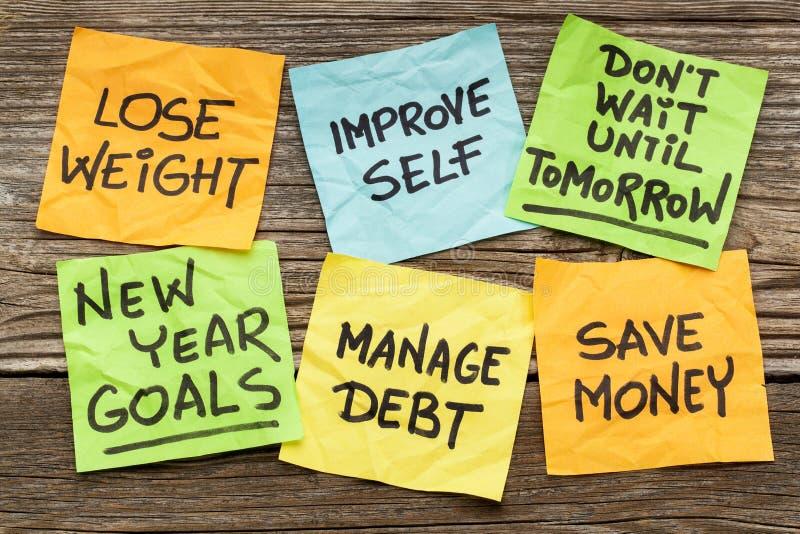 Objetivos ou definições do ano novo imagem de stock royalty free