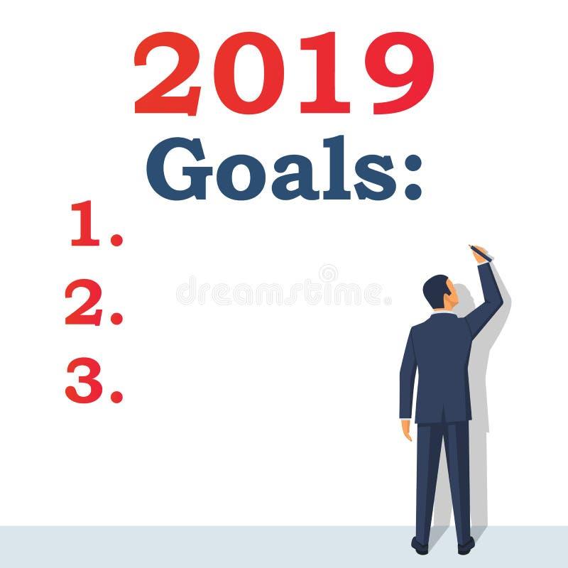 Objetivos 2019 Para fazer a lista para no próximo ano ilustração do vetor