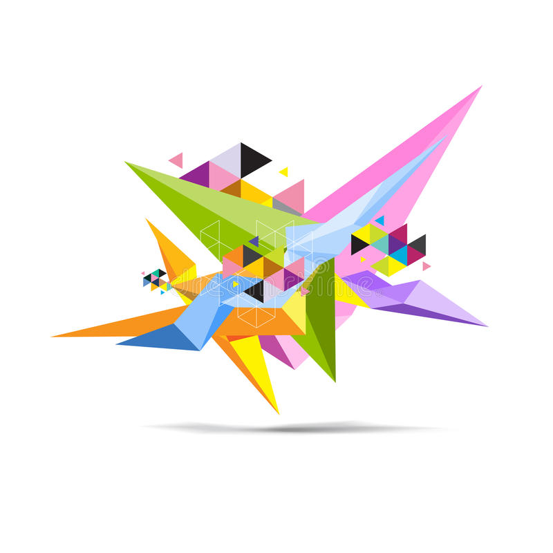 Objeto abstracto de la ciencia del polígono stock de ilustración
