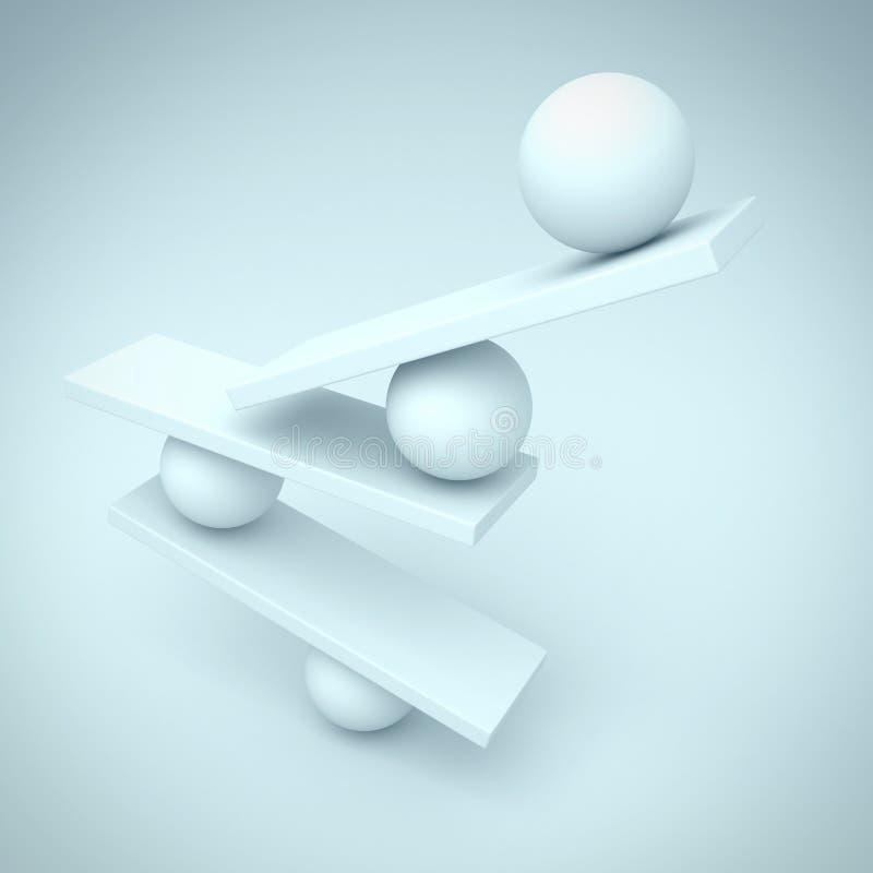 Objeto abstracto del concepto de la balanza de las esferas libre illustration