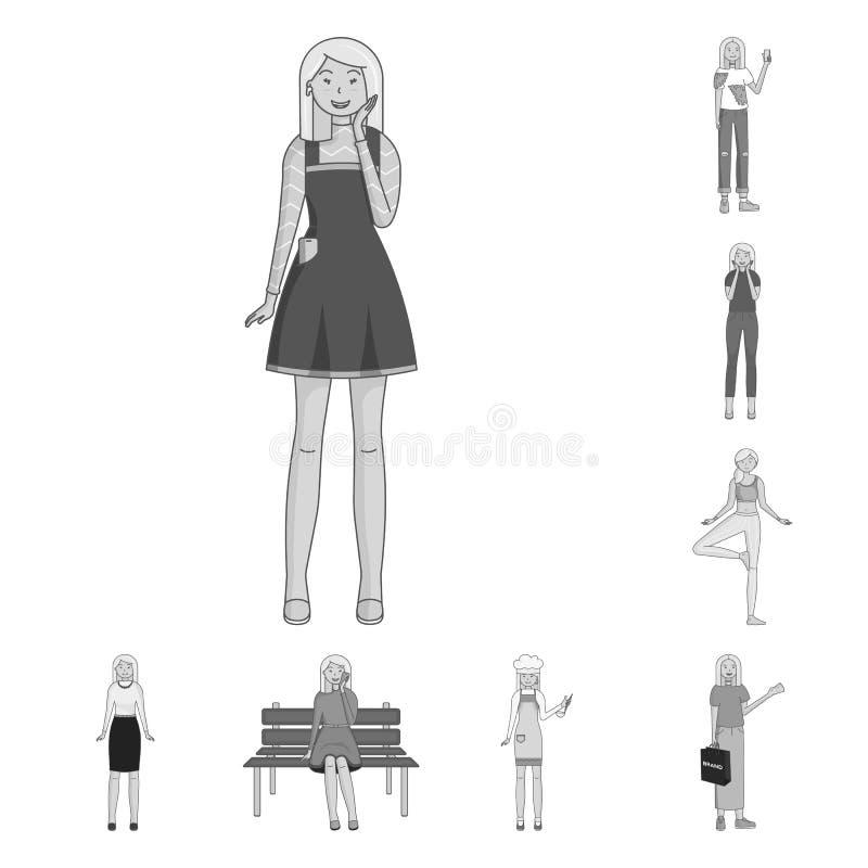 Objeto aislado de emociones y del logotipo femenino Colecci?n de emociones y de s?mbolo com?n del cuerpo para la web libre illustration