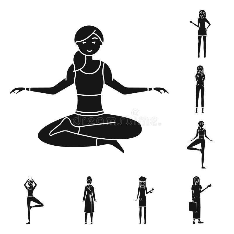 Objeto aislado de emociones y del s?mbolo femenino Fije de emociones y del icono del vector del cuerpo para la acci?n libre illustration