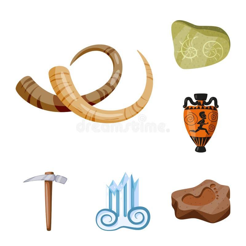 Objeto aislado de la arqueología y del logotipo histórico Fije del icono de la arqueología y del vector de la excavación para la  ilustración del vector