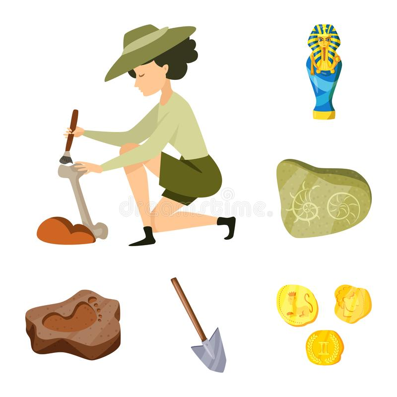 Objeto aislado de la arqueología y del símbolo histórico Fije del ejemplo de la arqueología y del vector de la acción de la excav libre illustration