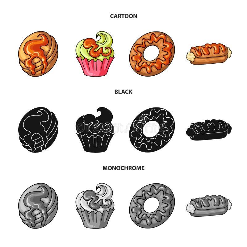 Objeto aislado de la confitería y del icono culinario Colección de ejemplo del vector de la acción de la confitería y del product libre illustration