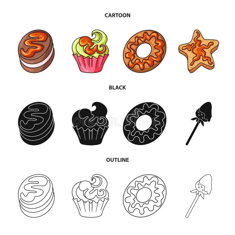 Objeto aislado de la confitería y del icono culinario Fije del símbolo común de la confitería y del producto para la web ilustración del vector
