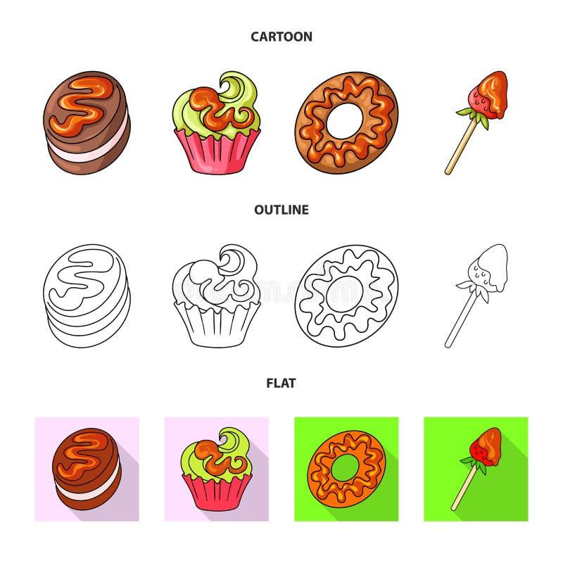 Objeto aislado de la confitería y del logotipo culinario Colección de ejemplo del vector de la acción de la confitería y del prod libre illustration