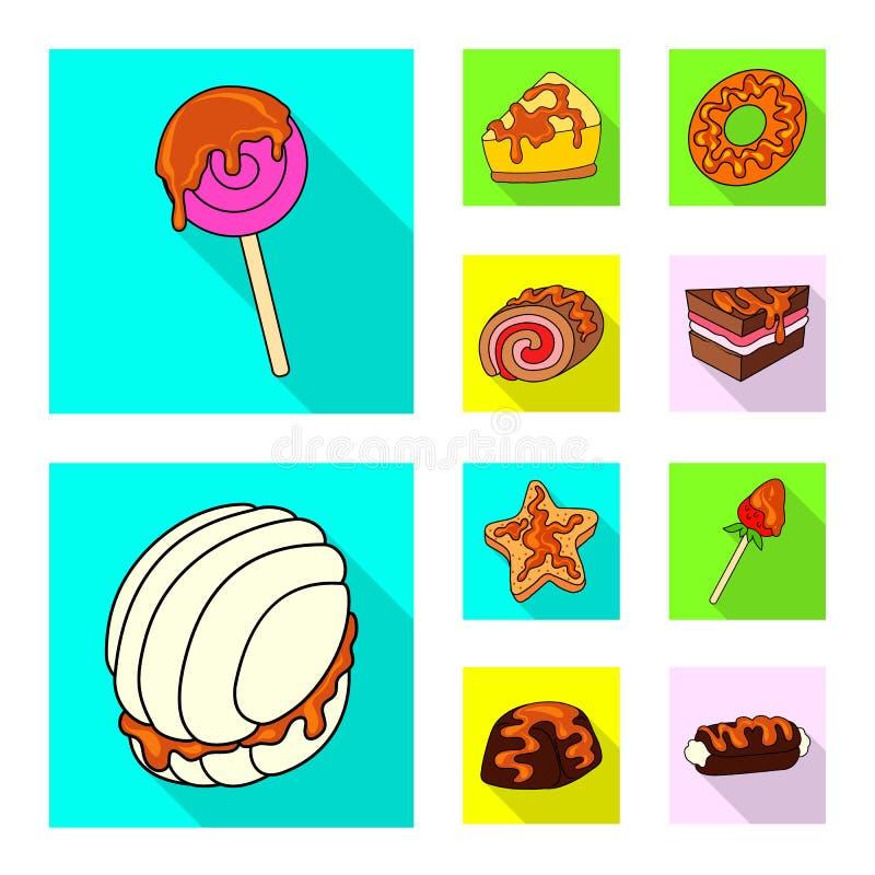 Objeto aislado de la confitería y del logotipo culinario Fije de la confitería y del icono colorido del vector para la acción libre illustration