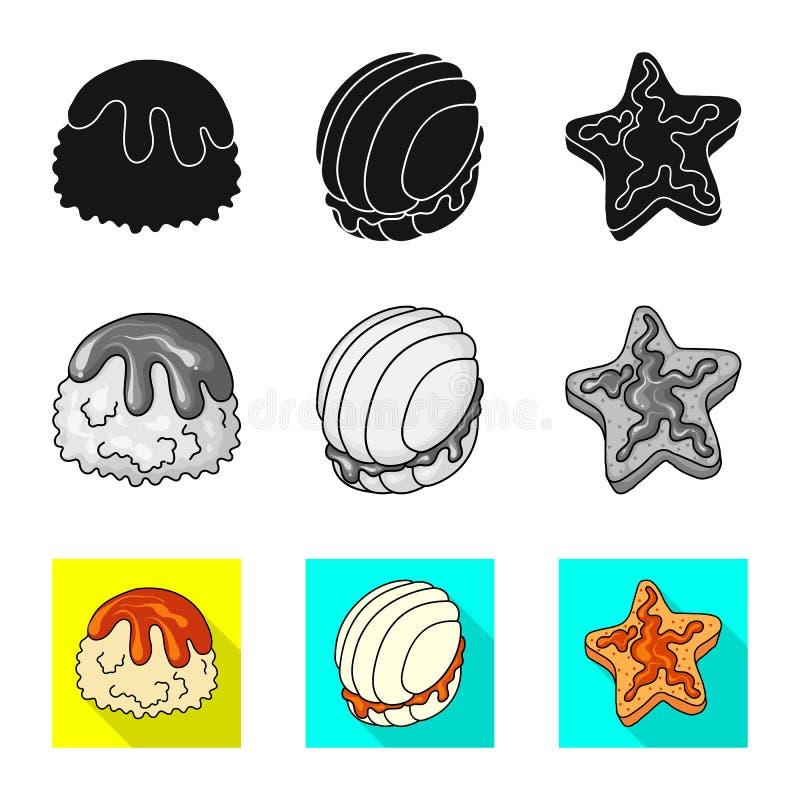 Objeto aislado de la confitería y del logotipo culinario Fije del icono del vector de la confitería y del producto para la acción libre illustration