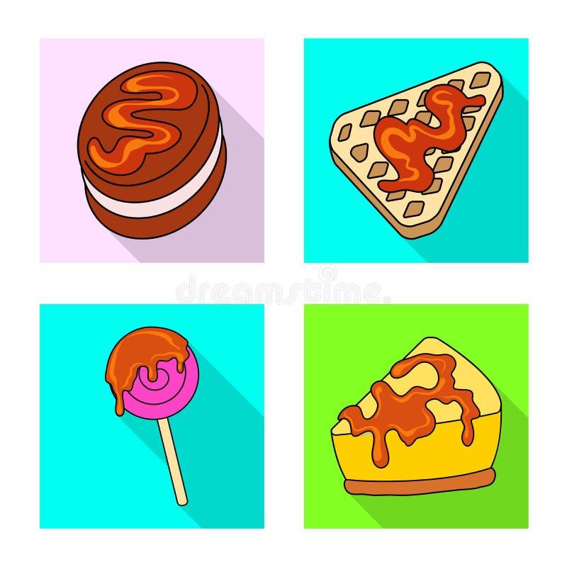 Objeto aislado de la confitería y del símbolo culinario Colección de confitería y de símbolo común colorido para la web stock de ilustración