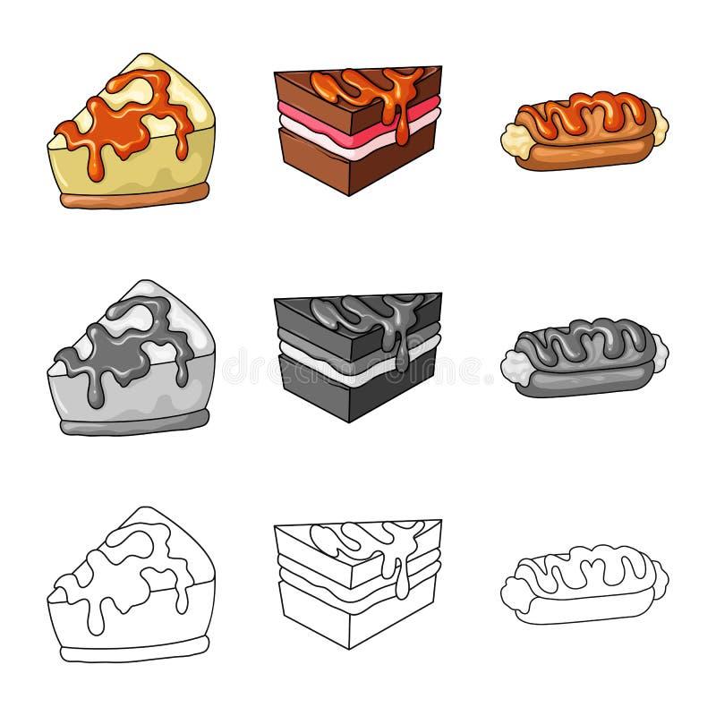 Objeto aislado de la confitería y del símbolo culinario Colección de icono del vector de la confitería y del producto para la acc ilustración del vector