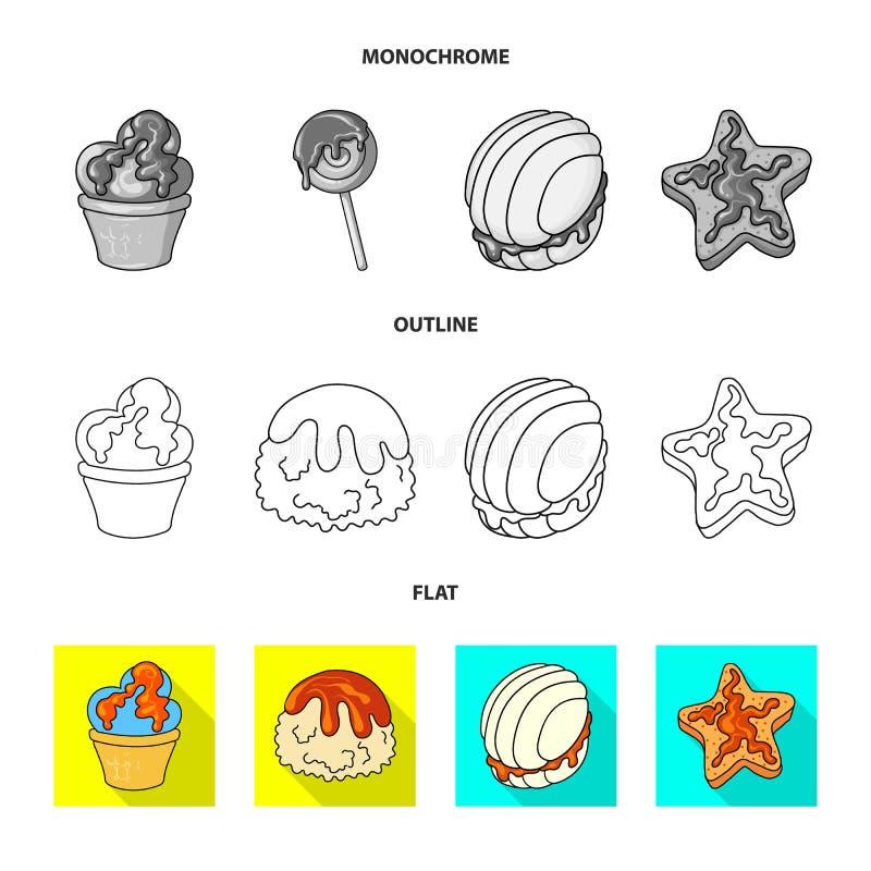 Objeto aislado de la confitería y del símbolo culinario Fije del icono del vector de la confitería y del producto para la acción libre illustration