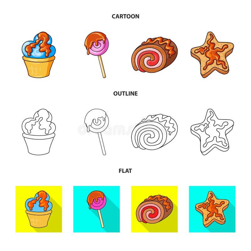Objeto aislado de la confitería y de la muestra culinaria Colección de ejemplo del vector de la acción de la confitería y del pro libre illustration