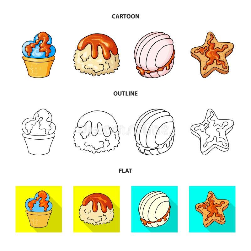 Objeto aislado de la confitería y de la muestra culinaria Colección de icono del vector de la confitería y del producto para la a stock de ilustración