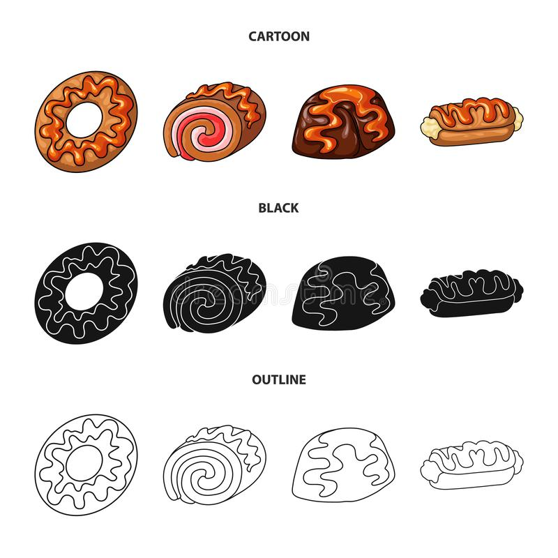 Objeto aislado de la confitería y de la muestra culinaria Colección de símbolo común de la confitería y del producto para la web stock de ilustración
