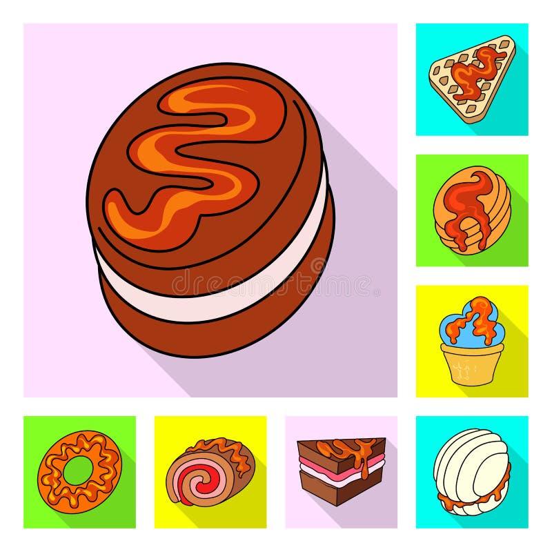 Objeto aislado de la confitería y de la muestra culinaria Fije de la confitería y del ejemplo común colorido del vector ilustración del vector