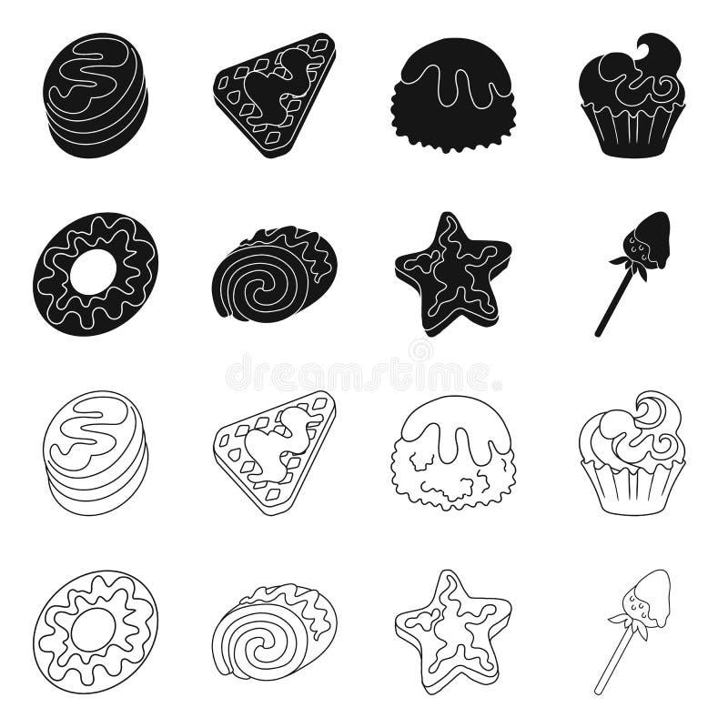 Objeto aislado de la confitería y de la muestra culinaria Fije del icono del vector de la confitería y del producto para la acció libre illustration