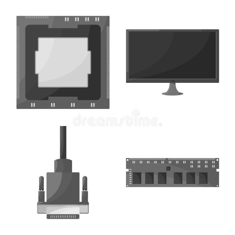 Objeto aislado de la mesa y del símbolo de la tecnología Fije del ejemplo del vector de la acción de la mesa y del dispositivo ilustración del vector