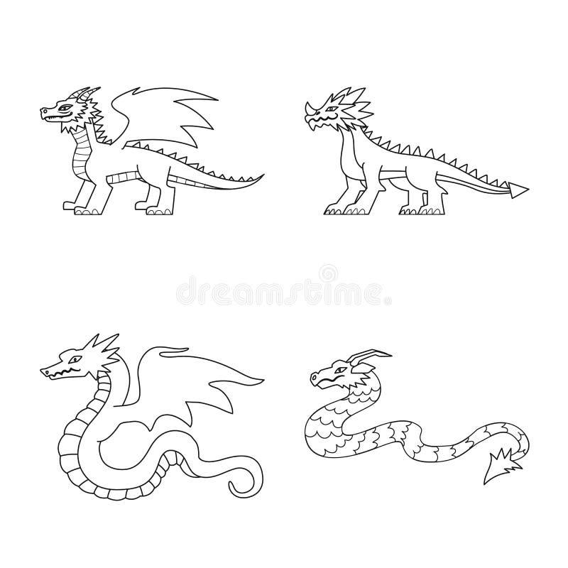 Objeto aislado de la muestra asiática y medieval Fije del ejemplo común asiático y mítico del vector ilustración del vector