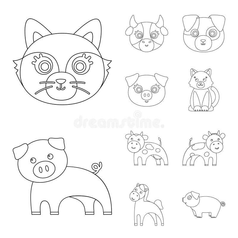 Objeto aislado de la muestra del animal y del hábitat Colección de símbolo común del animal y de granja para la web stock de ilustración