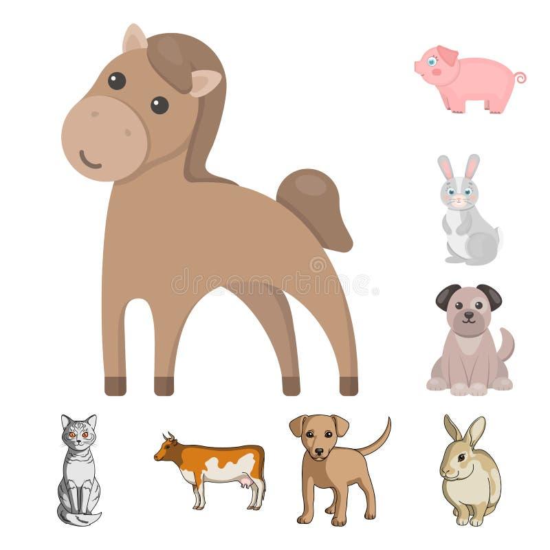 Objeto aislado de la muestra del animal y del hábitat Fije del ejemplo del vector de la acción del animal y de granja ilustración del vector
