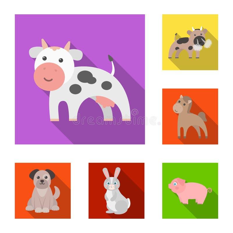Objeto aislado de la muestra del animal y del hábitat Fije del símbolo común del animal y de granja para la web libre illustration