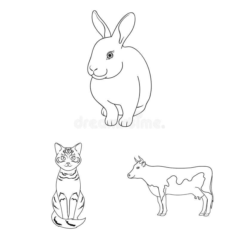 Objeto aislado de la muestra del animal y del hábitat Fije del símbolo común del animal y de granja para la web stock de ilustración