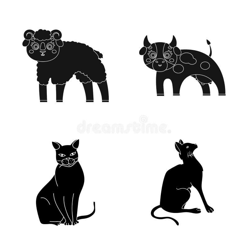 Objeto aislado de la muestra del animal y del hábitat Fije del símbolo común del animal y de granja para la web ilustración del vector