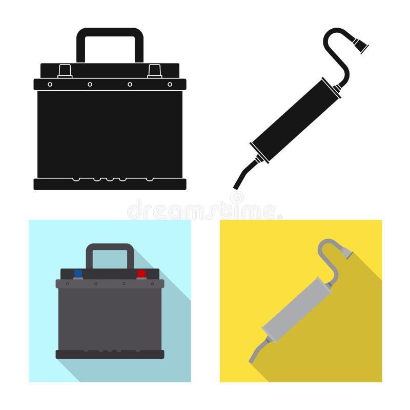 Objeto aislado de la muestra del auto y de la parte Colección de símbolo común del auto y del coche para el web stock de ilustración