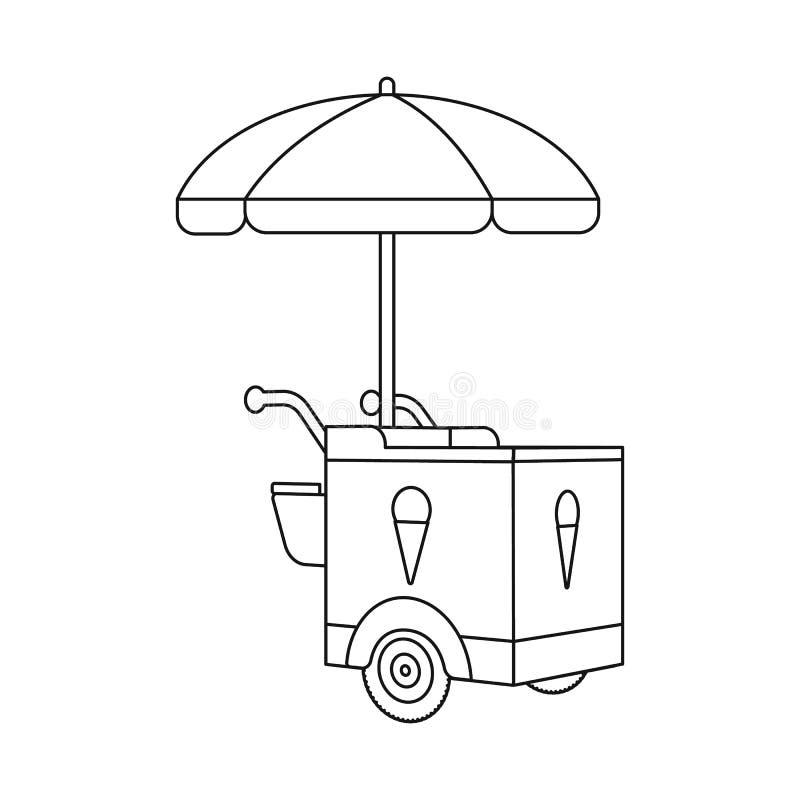 Objeto aislado de la muestra del carro y del parasol Fije del símbolo común del carro y de la sombrilla para la web libre illustration